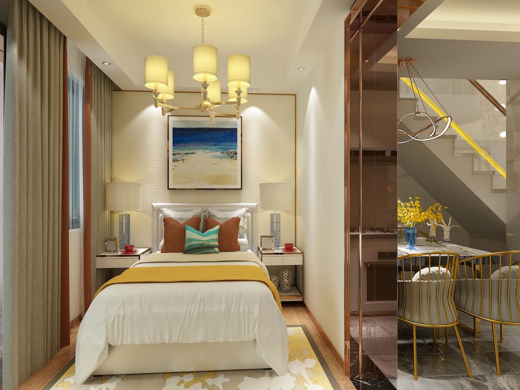 桂林百年荟•城市广场公寓120㎡现代轻奢风格:次卧室装修设计效果图