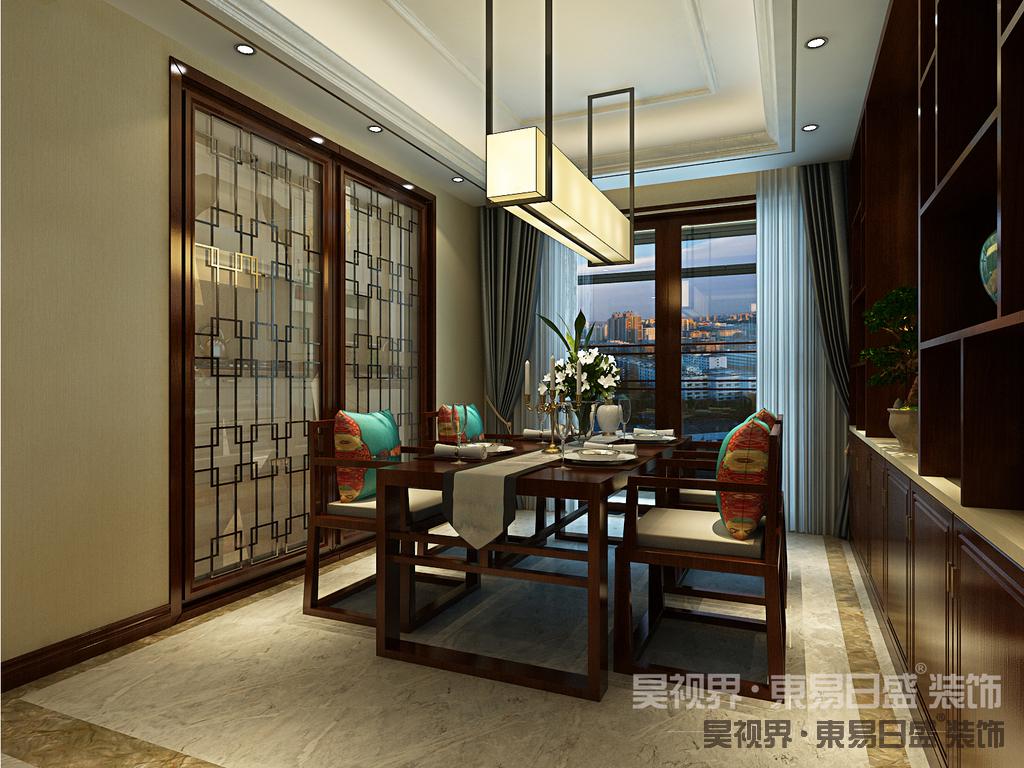 中式风格餐厅最大的特色就是选用木色比较沉稳的木材来装饰,大气的中式挂画能给餐厅增添不一样的质感。