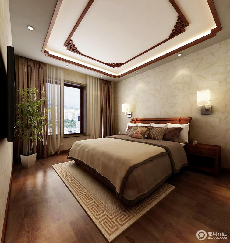卧室的吊顶采用传统窗棂的设计形式,却张扬着传统文化的雕刻工艺,令吊顶和暖中多了中式艺术;素色壁纸和驼色软装搭配出朴素,而回字纹地毯与方形壁灯让家圆满温馨。