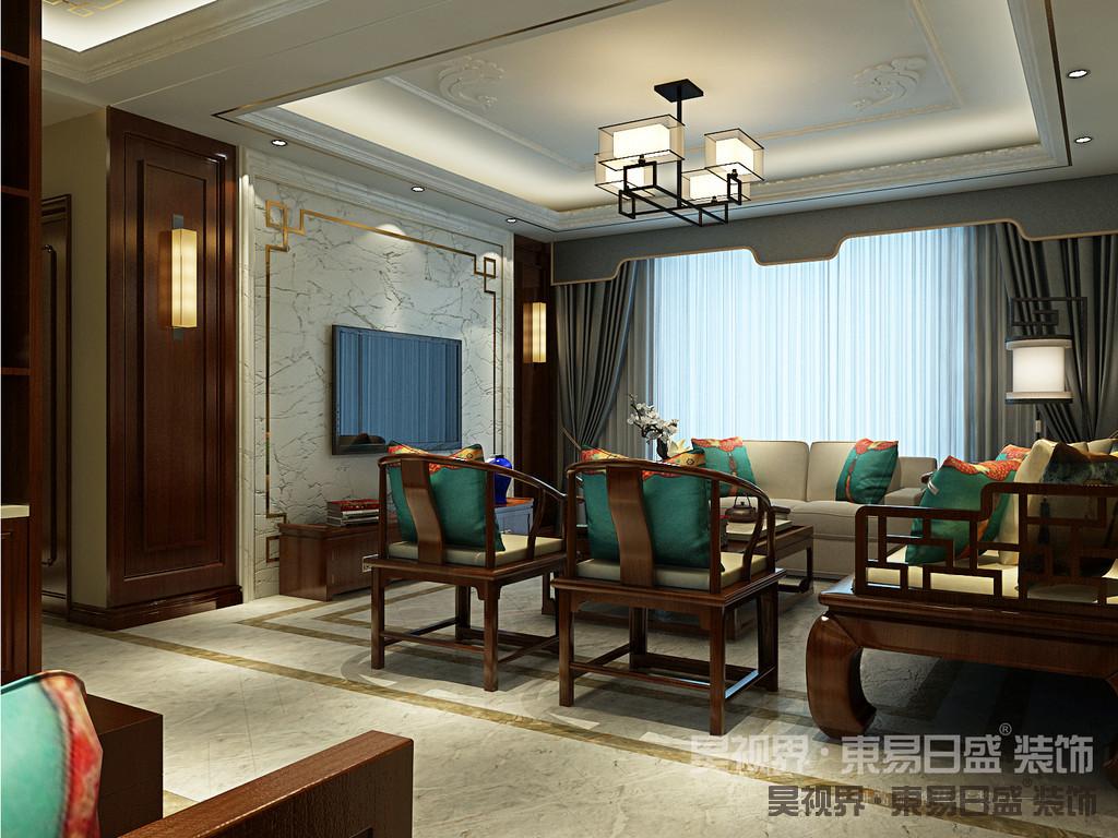 本案采用奢华沉稳的中式经典红木家具、诗词古画,搭配简约的地砖,是中式与现代完美结合的典范。