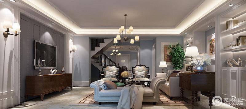 休闲室以蓝色漆粉刷墙面搭配白色石膏线,让原本的立面多了几何立体感,搭配白色定制得展陈柜,满是现代美式的清雅与纯净;深灰色铆钉几何背景墙调和出稳重,色彩之间彰显得体,黄铜壁灯与简式吊灯的个性与轻奢,呼应着美式复古实木家具,造就了空间的尊贵与雅趣;而米白色沙发与丝面木椅组合出优雅,为空间注入了柔和与端庄。