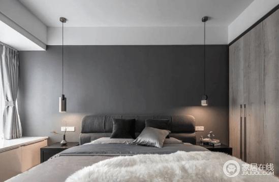 卧室用一面墙的灰色,营造出静谧的氛围造型不一的床头吊灯,让这个空间多了一份浪漫格调;窗下的定制地台,颜值、储物全都满足,与原木衣柜构成空间的温实。