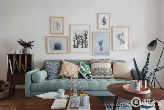 虽然可以看到很多网红家具,但软装搭配确实是门手艺活,正如大白墙上悬挂得绿植挂画,搭配绿色沙发,清新活泼,而靠垫的多种样式,简单而得体。