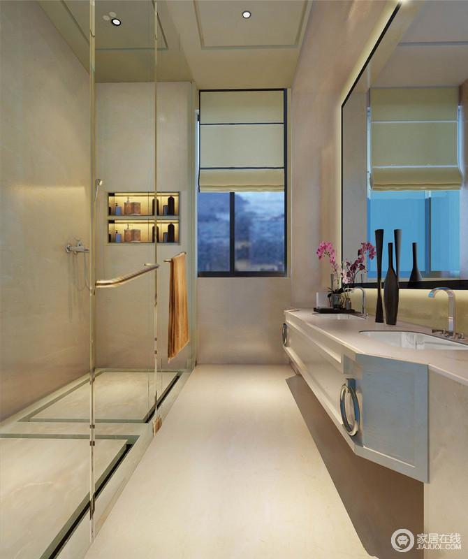 卫生间的设计通过干湿分离,满足生活的所需,再加上玻璃淋浴房并没有造成采光的不足,反而与镜子呈通透感;不规则的悬挂式盥洗柜不仅满足多人使用,以利落的设计与收纳区尽显实用感。