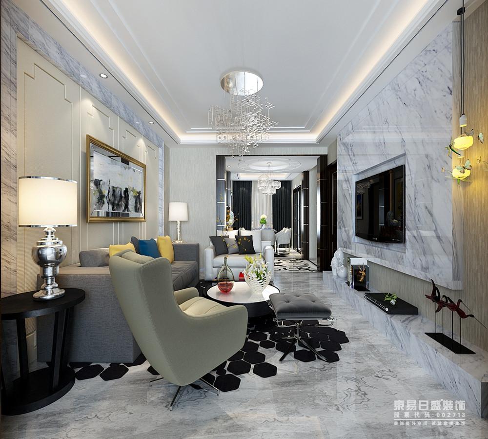 沙发在色彩和材质上,以对比的方式配搭组合,加上地毯的装点,沉稳中不乏时尚活力;空间装点的摆件与灯饰,精致优雅中呼应出轻奢华贵。