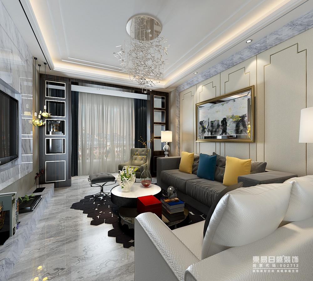 客厅里灰白花色大理石从地面铺陈到墙面,让整个空间富有硬朗的质感,而背景墙面上的米色软包和原木,则温润素雅的中和了空间的刚硬气质;阳台上,设计师对称设计了格子墙板,增加空间的层次感。
