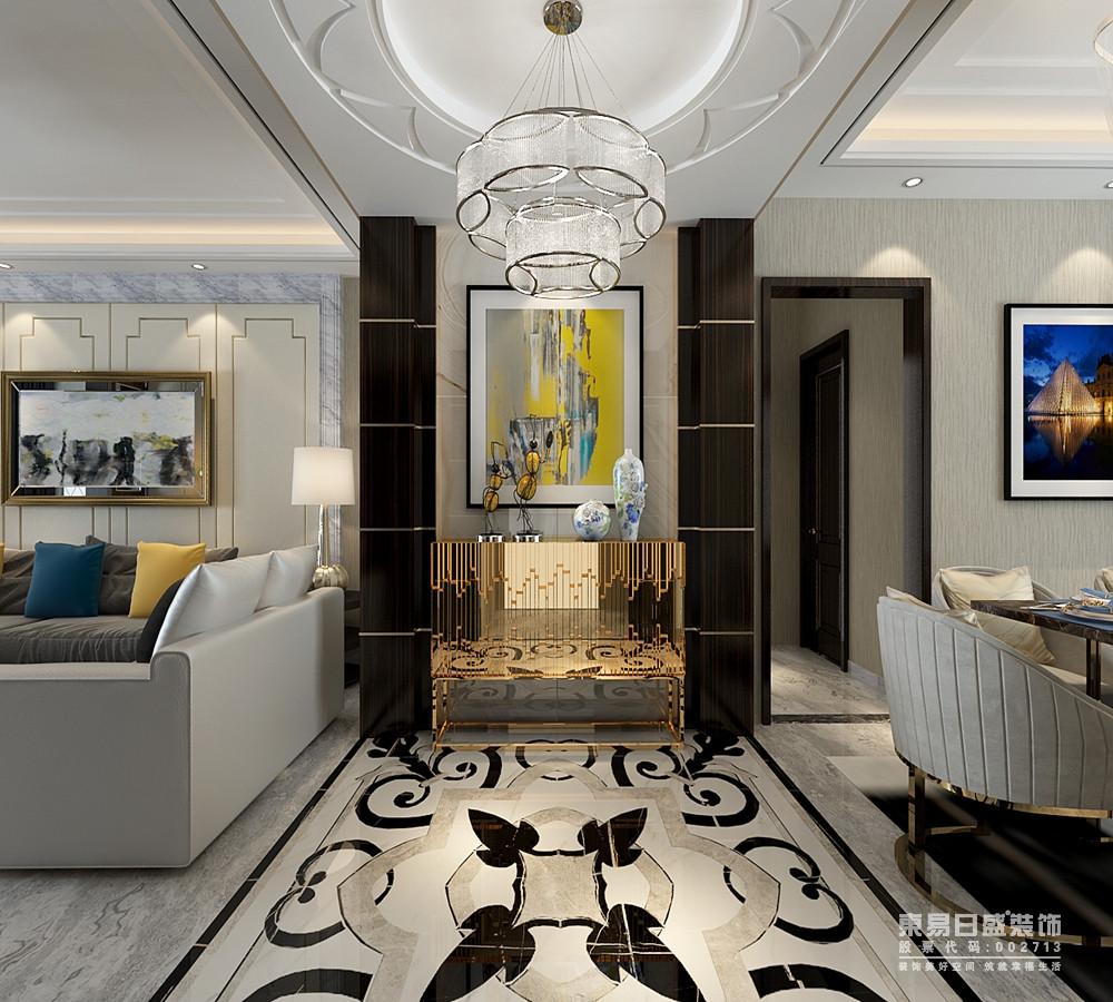 两厅之间的走廊上,大量的装饰结构赋予空间时髦的典雅质感;地面上拼花造型浪漫,与顶上圆弧吊顶互相辉映;端景墙上深浅大理石间金属边柜与装饰画及摆件,彰显出艺术设计风尚。