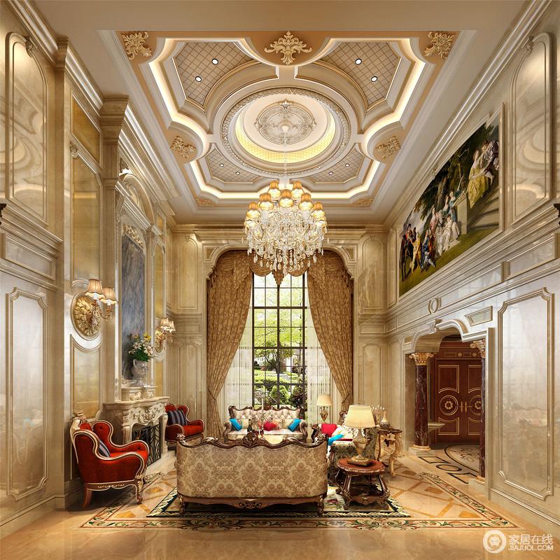 布艺沙发组合有着丝绒的质感以及流畅的木质曲线,将传统欧式家居的奢华与现代家居的实用性完美地结合。