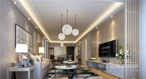 客厅木纹背景墙与木地板、沙发几何背景墙呈清素;实木屏风简单地将阳台设在另一侧,增加空灵感,并与玻璃圆形吊灯碰撞出精致;灰色沙发在拼接地毯和圆几的装饰中,显出简洁和时尚。