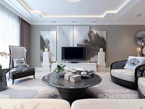 客厅的吊顶以白色简约方格表现中式元素,深灰色壁纸因为四副抽象画而显出中式素雅;石材雕塑品对称出文化底蕴,而电视机与电视柜以黑白组合,呼应着新中式花卉家具,共写空间之美。