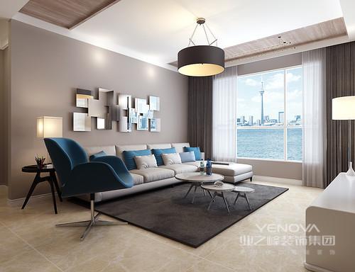 """虽然这是一个三居室,但是造价并不高,可以说""""小成本,大空间""""。整体空间用最简单的手法,完成最不一样的效果,不管是吊顶以木材装饰出几何造型,还是立面营造的灰墨,抑或软装上的色彩搭配,简约家具的点缀等,都在表达着生活需要质感,也需要简约的设计主张。"""