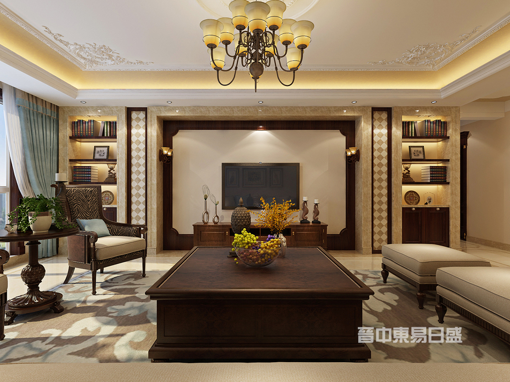 客厅:新晋世家设计案例中的客厅电视背景墙面选择褐色护墙板,搭配米色石头、壁布,选用美式家具,简单而不失品质,将空间层次搭配的条理有序。电视墙两侧增加具有收纳展示功能柜体,让小7米长的电视墙不再单调。