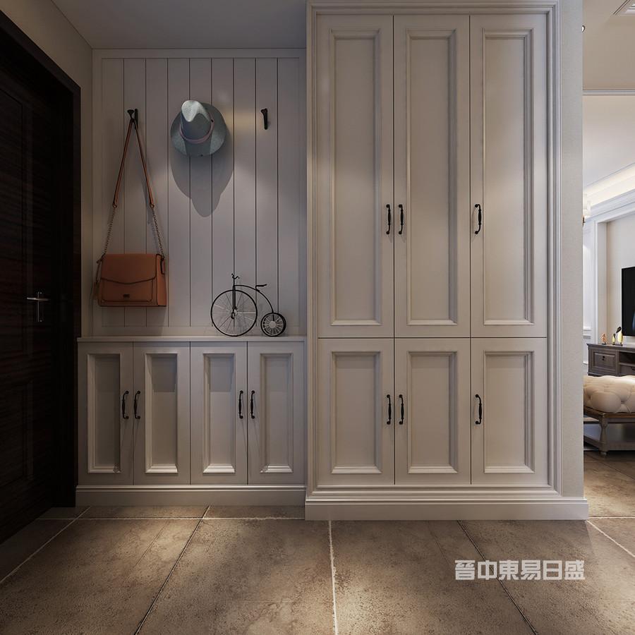 门厅:美式风格所呈现的浓郁情怀,是大多数业主们所向往的,空间装修选用了白色的装饰柜,与深色门把手作为色系组合,令你的视觉倍感舒适与自然。同时在鞋柜区域做了新建的墙体,增加了鞋柜的收纳空间。