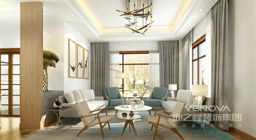 客厅结构方正,线条简练,灰色窗帘搭配白色纱幔营造出层次之余,衬托着白色沙发和米色扶手椅,纯净灵动;实木小椅旁的大小圆几、铁艺方几让空间更显讲究;抽象挂画的造型与地毯相呼应,并因为铁艺吊灯和白色台灯组成现代时尚。