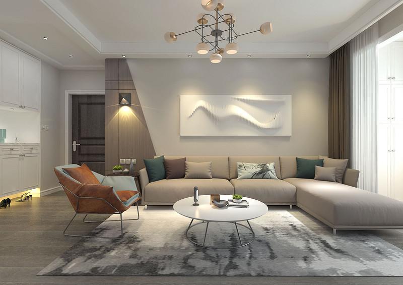 充满造型感的沙发墙,在壁灯和射灯的映照下,瞬间成为客厅抢眼的焦点;简洁的沙发组,在米灰、橙黄及墨绿等色调的搭配,为空间带入一丝时尚活泼感。