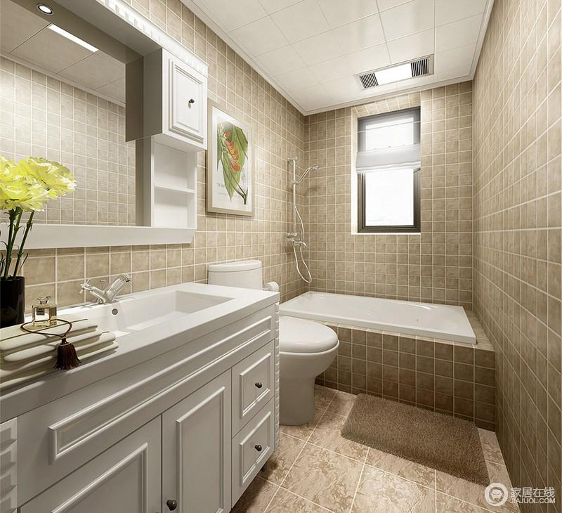朴质素雅的卫生间,方块砖从上到下,以不同大小的铺贴,让简净单调的空间,有了几何的互相叠加与延展,多了几分宽厚和沉稳;白色盥洗台与浴室镜,收纳形式的多样,让物品的存储隐于无形,规整中带些许变化。