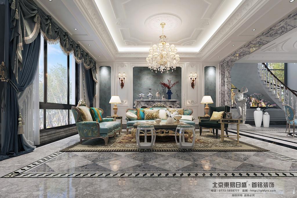 桂林信和信•原乡墅680㎡法式风格:客厅装修设计效果图,客厅的完美结合使人流动线更加合理。