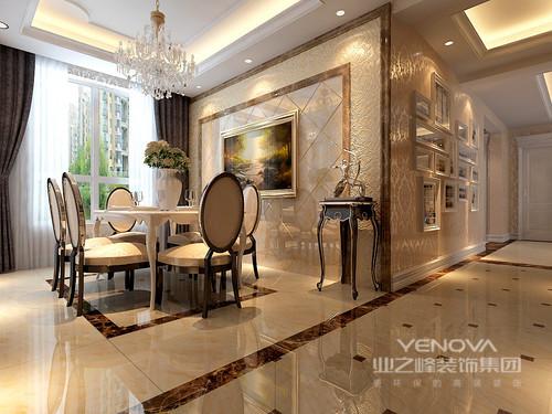 在欧式风格的空间里,设计师在原有建筑结构的基础上,对空间构架结合创意元素进行了深入理解,强调了空间与空间之间的递进关系,并通过精美装饰,从整体到局部、从空间到室内陈设的塑造,无一不精雕细琢,彰显华美的精致感。