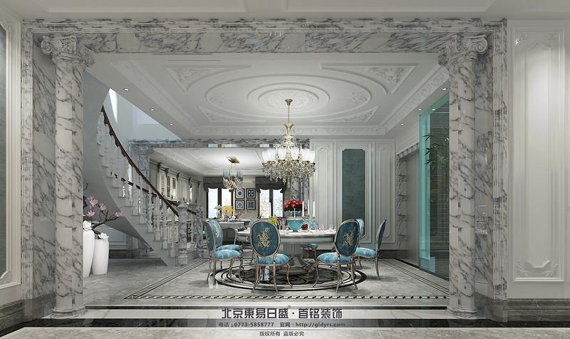 桂林信和信•原乡墅680㎡法式风格:餐厅装修设计效果图,蓝色的椅子,浅色的大理石楼梯,这样的选材清新自然享乐的艺术生活。