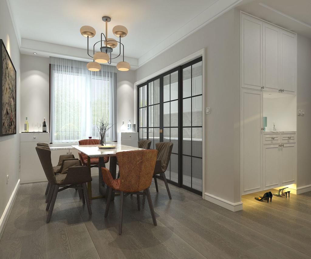 餐厅连通着玄关和厨房,但三者空间风格元素各异;清新的白色玄关柜悬空入墙,增加了玄关的收纳功能;餐厅则主打褐色与棕色,碰撞的色彩让空间更具情调。