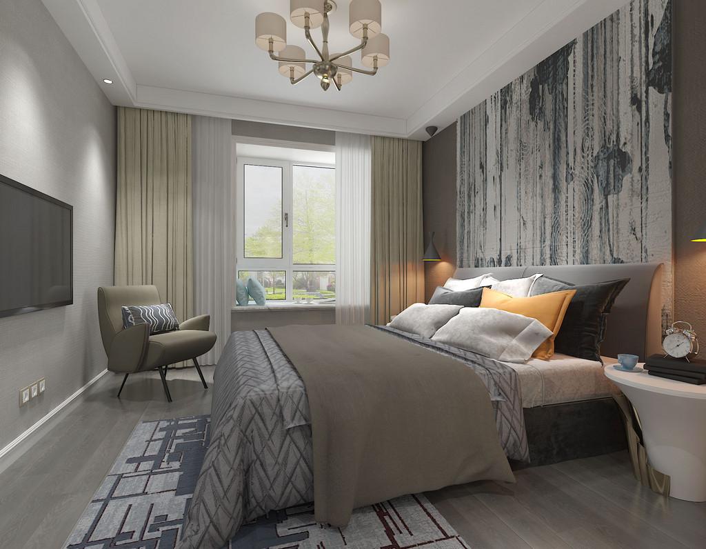 主卧在床头饰以充满粗犷树枝的壁纸,呼应着床品上的树叶纹,营造出恬淡的自然气息;床品上的黑、橘、灰白与褐色的相间交叠,辉映出空间的灵动气质。