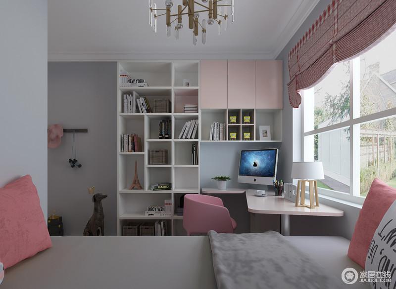 粉色加淡蓝色的搭配显出清新与甜美感,虽然从窗帘和一些家具饰品上以粉色为主,但是淡蓝色漆的涂刷,中和了空间的气息,更显清雅;几何书柜搭配书桌的设计,带来一种实用哲学,同时,让空间显得清新干净。