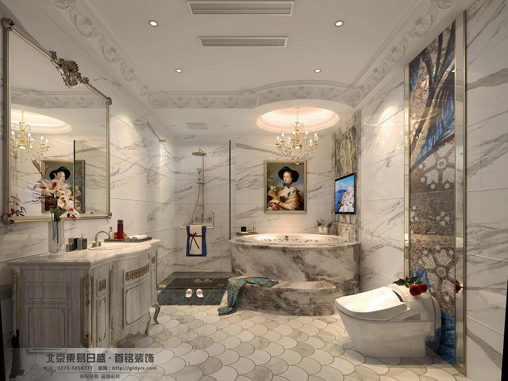 桂林信和信•原乡墅680㎡法式风格:卫生间装修设计效果图,墙面用大理石纹理铺垫,点缀一些金色,总体淡雅、舒适。