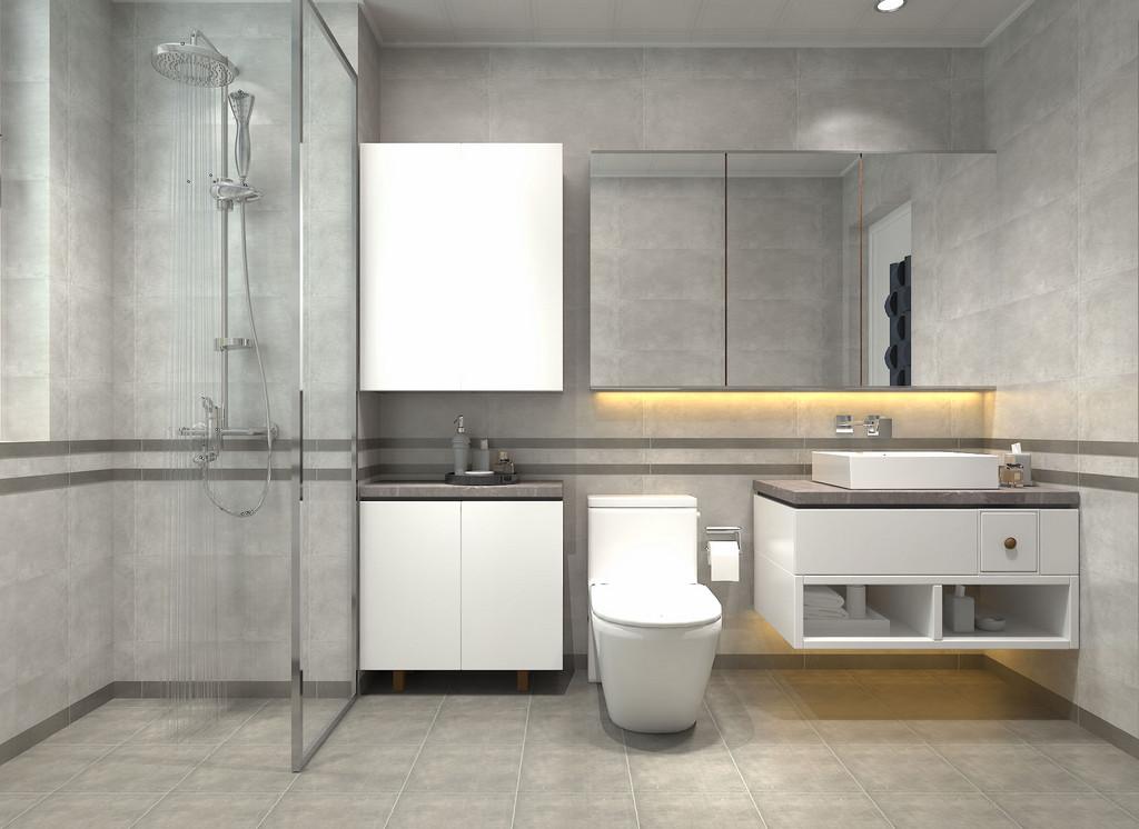 卫生间打造的非常简约,白色的悬挂柜增加了小空间的置物能力;通透的玻璃隔断,干净清爽的分离了空间的干湿区。