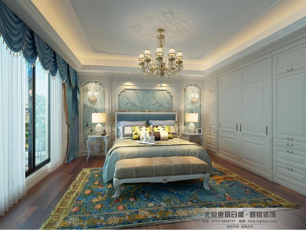 桂林信和信•原乡墅680㎡法式风格:卧室装修设计效果图,家具多为淡雅色系,显得优雅矜贵,最终呈现给人们的感觉大多是高贵典雅,雍容华贵。