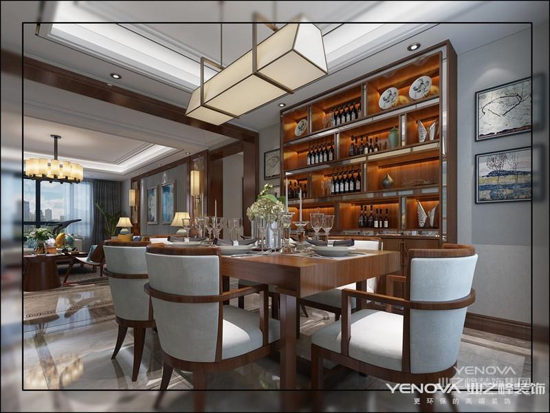 现代中式设计搭配大胆颜色及材质变化,使室内空间环境氛围营造出独特的品味。