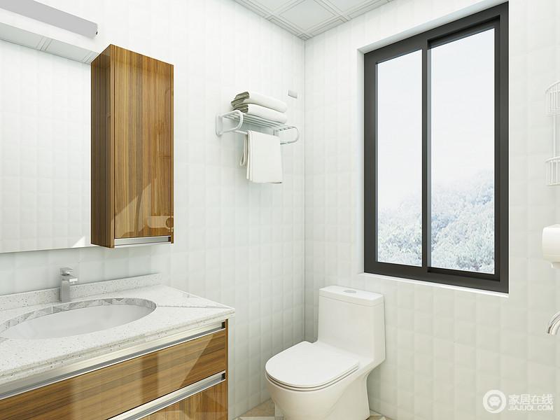 卫生间很简单的选用白色墙砖,黑色窗框在这个空间中尤为突出,原木色的柜门更是让这个空间添色不少。