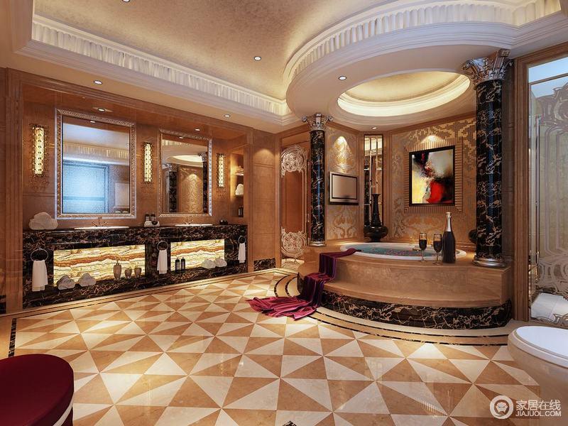 奢华雍容的卫浴空间,弧形罗马柱打造的浴缸分隔淋浴间和如厕区,中央大面积活动区域铺陈双色拼花地砖,与空间大量点缀的花纹,让空间富有视感和浪漫色彩;双盥洗台材质呼应着浴缸的黑金花理石,空间贵气感十足。