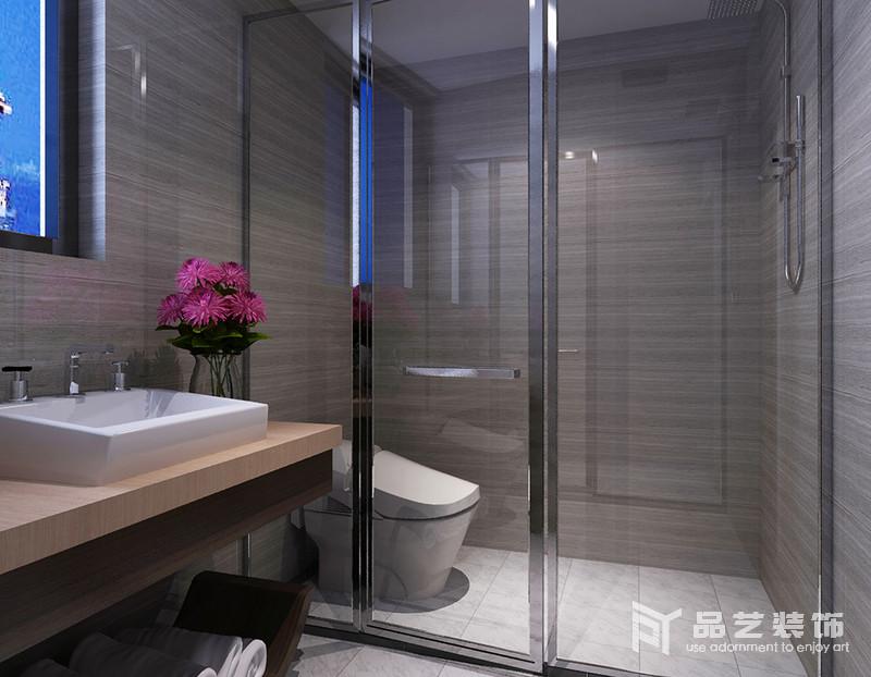 衛生間干濕分離的處理,減少了打理的麻煩,灰色木紋磚石鋪貼墻面,不僅具有線性感,延續了中式的安雅,搭配盥洗臺,讓生活足夠舒適。