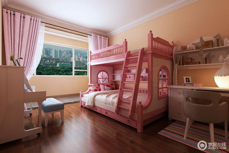 儿童房以米黄色漆粉刷墙面,粉色支架床让整个空间充满了色彩活力,白色钢琴旁的蓝色单椅与粉色窗帘,呼应出纯美温馨;白色书柜和书架组合既实用又得体,彩色地毯调和出一种彩虹感,让原本实木椅子多了圆润和俏皮,给你不同的生活格调。