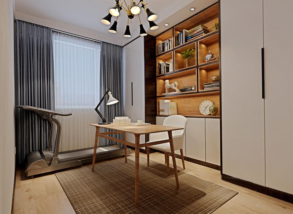 书房不大但是功能齐全,设计师为了避免对于空间的占用,将组合式书架入墙,胡桃木、浅原木和白色的色彩在点光源的营造下,文艺又清新;简约的木质书桌一侧,银灰蓝窗帘与健身器械和谐搭配。