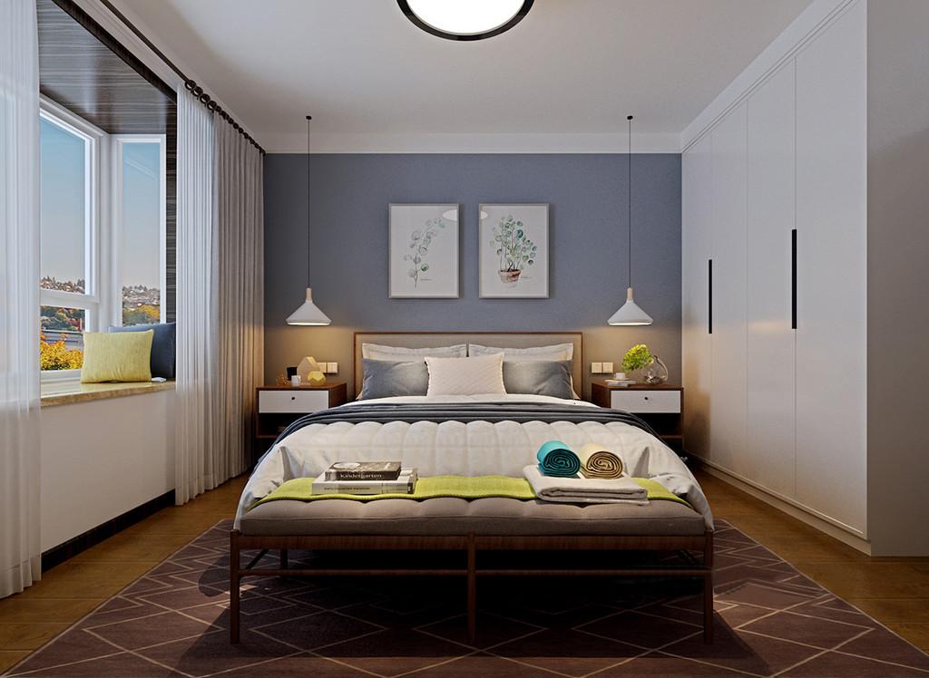 卧室在空间设计上采用对称的手法,线灯与床头柜、装饰画和靠枕均以对称的形式,让空间在规整中带着素朴的温柔;床头背景墙的深蓝色与床品呼应,与地毯彰显层次;衣柜顶天立地入墙,释放出多余活动空间。