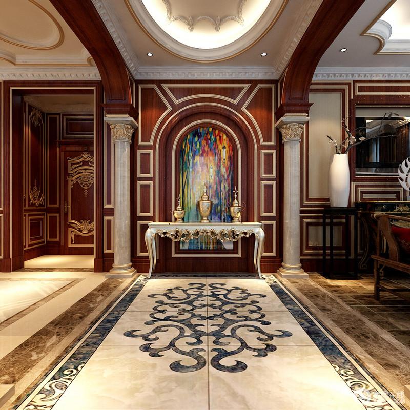 优美动人的花纹顺着地面勾线,延展至走廊背景墙,拱形红木墙板上金线或方正或圆润的描画,装饰的画作色彩斑斓,与玄关边几及摆件,搭配出一种西方宗教意味;拱形罗马柱典贵的修饰,也起到空间区域上的划分。