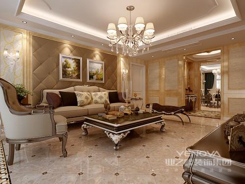 设计师将营造温馨感的暖黄色作为空间主色调,在材质和配饰的造型设计下,三居室的空间充满了欧式的典雅高贵氛围;同时辅以低饱和度的色块用于色彩构建,质朴内敛的宁静,也由此被呈现出来;整体空间显得古典雅致,端庄舒适。