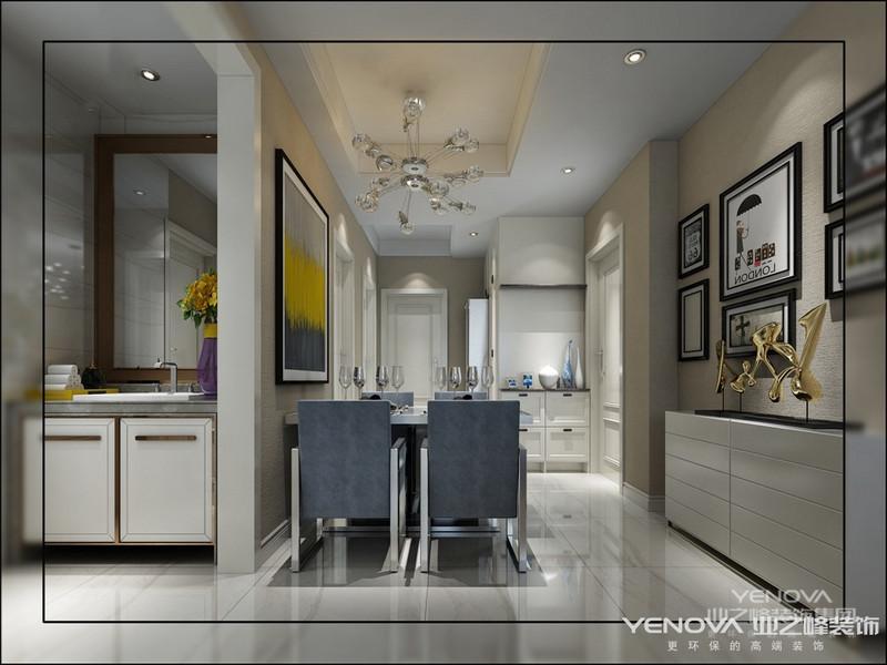 浅色调色彩明亮轻柔,给人温暖的感觉,在设计上考虑到客厅与餐厅现有结构的不合理处,所以对原有结构有所改动。而对于整体的效果则把设计重点放在整体空间的装饰把握上,首先肯定顶面是空间的辅助面并且采用满顶手法去区分空间的功能性。