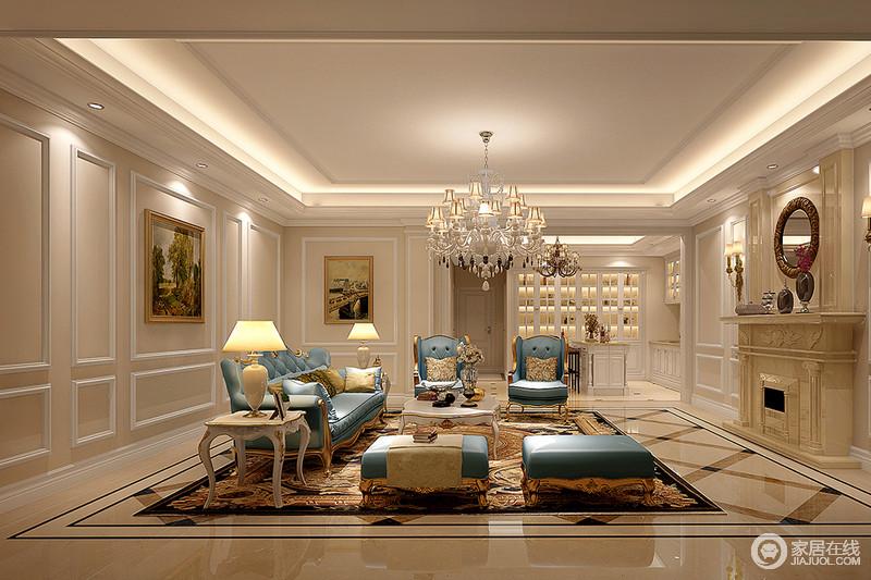 客厅大结构的设计突出了空间感,米色漆的墙面因为石膏线的设计与矩形吊顶演绎几何简洁,墙面的油画点缀出文艺;石材质地的壁炉与地砖素淡之余,多了通透,搭配金属底座的蓝色新古典沙发,渲染了尊贵,曲线感的白色边几与灯饰无不张扬着雍容典雅。