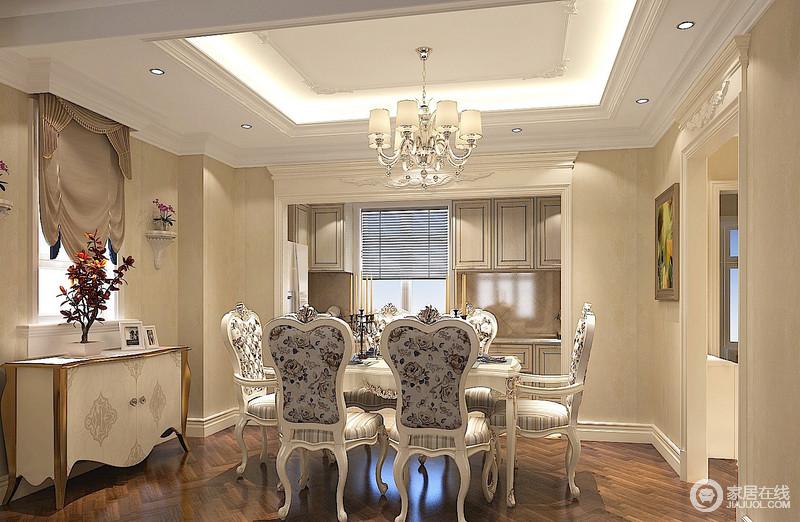 与硬装修上的欧式细节应该是相称的,选择暗红色或白色、带有西方复古图案、线条以及非常西化的造型,实木边桌及餐桌椅都应该有着精细的曲线或图案。