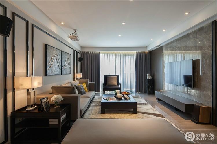 现代风格的客厅,其突出的特点是简洁、实用、美观,兼具个性化的展现。不仅注重居室的实用性,而且还体现出了工业化社会生活的精致与个性,符合现代人的生活品位。