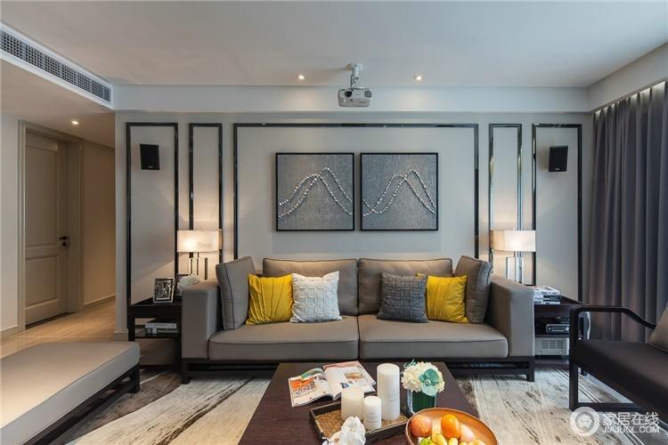 客厅在强调功能性设计的同时,运用的线条简约流畅,色彩对比强烈,充分强调了现代风格的特色。
