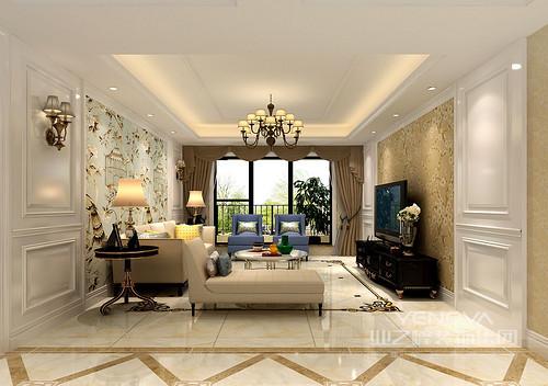 屋主对简欧风格比较偏爱,喜欢碎花,希望空间的色彩是浅色系。所以在整个案例的表现上,设计师运用了大量的印花元素,营造出丰富绚烂的繁华感。在色彩上,以雅黄配简白,既有富丽感又不失温馨简约;局部使用了蓝色和绿色,为空间注入了雅致和自然清新。