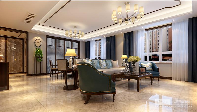 桌子是中式样式,椅子沙发又是现代风突出,中式的背景线条,现代的灯饰,我们看到的是中式与现代元素的杂糅兼济,没错,它是新中式,一种目前备受中青年喜爱的设计风格