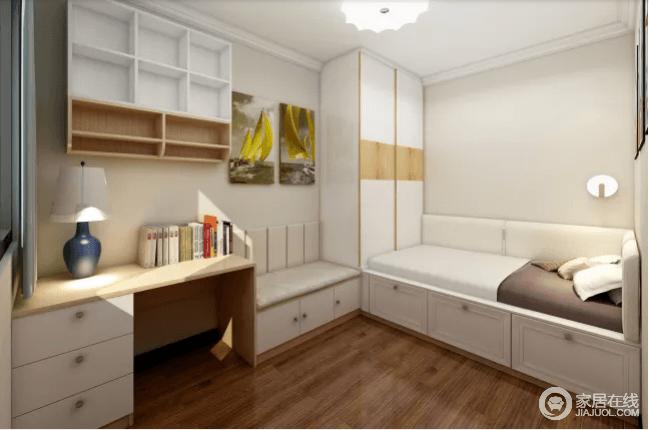 次卧主要作为孩子生活的空间,以米色为主,营造温和与和静;整体定制榻榻米、书桌、沙发等家具,增加储物收纳空间,调和出空间的实用性;家具色调以纯木色、白色为主,给人以还原生态美的感觉。