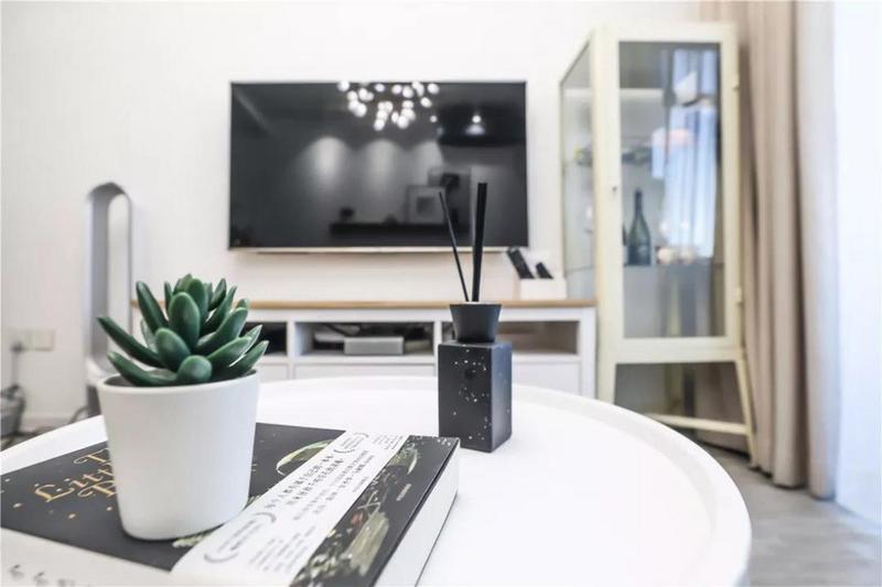 电视柜也是简单纯粹的款式,在保持空间整洁性的同时,也满足一定的收纳功能。