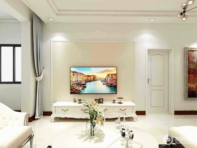 背景墙简单的几何效果,搭配简欧电视柜,让空间清浅大气。