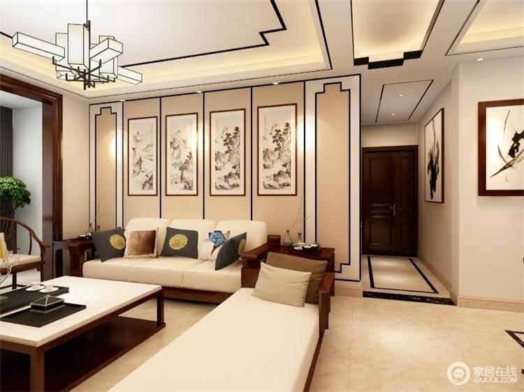 新中式风格的客厅,整体以米色为主,表达温暖含蓄、端庄丰华的东方式精神境界,几何的墙面因为中国写意画组合多了文化内涵,而新中式布艺沙发与靠垫,无疑,给你带来舒适的体验。