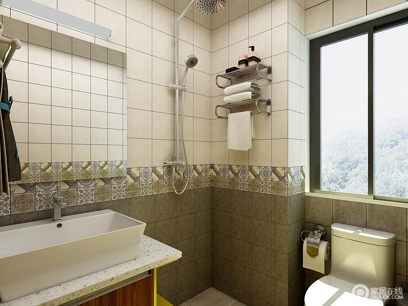 卫生间的墙面采用了2种不同的拼花砖来彰显艺术范,白色的洁具让空间更加整洁明了。